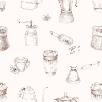 Modèle sans couture élégant avec des outils pour la préparation du café dessinés à la main avec des lignes de contour sur fond clair. illustration réaliste dans un style vintage pour impression textile, papier d'emballage, papier peint.