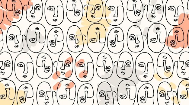 Modèle sans couture élégant avec des visages dessinés à une ligne