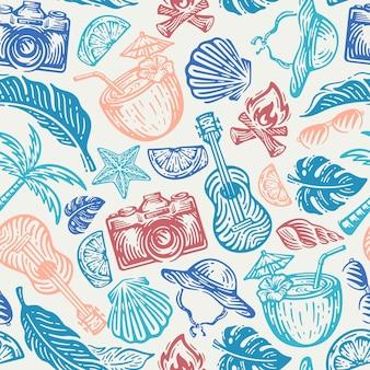 Modèle sans couture d'élément de plage dans le doodle