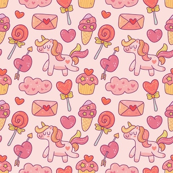 Modèle sans couture d'élément de la saint-valentin mignon kawaii dans un style doodle.