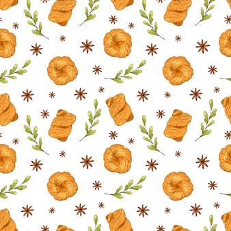 Modèle sans couture avec des éléments de boulangerie dessinés à la main. conception de menus, papier d'emballage de magasin.