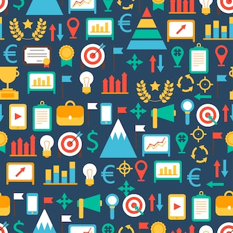 Modèle sans couture d'éléments de conception infographique plat entreprise et finance