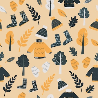 Modèle sans couture avec des éléments de dessin animé automne mignon. automne