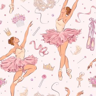 Modèle sans couture avec des éléments de l'école de ballet dessinés à la main