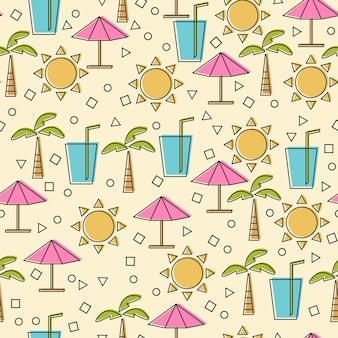 Modèle sans couture avec des éléments d'été dans un style de ligne fine. icônes de ligne vectorielle - concept de dessin animé drôle de voyage et de vacances