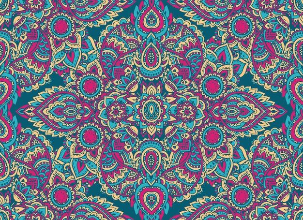 Modèle sans couture avec éléments floraux au henné mehndi dessinés à la main. beau fond sans fin coloré dans un style indien oriental dans des couleurs vives