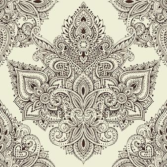 Modèle sans couture avec éléments floraux au henné mehndi dessinés à la main. beau fond sans fin