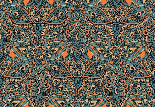 Modèle sans couture avec éléments floraux au henné mehndi dessinés à la main