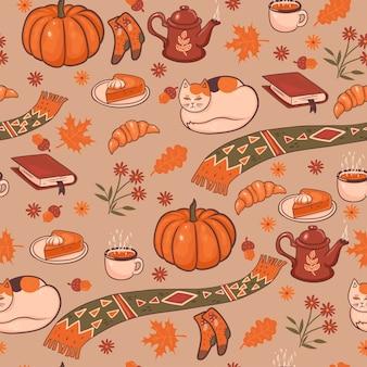 Modèle sans couture avec des éléments graphiques d'automne confortables. graphiques vectoriels.