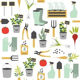 Modèle sans couture avec des éléments de jardinage.