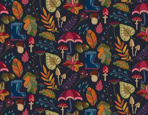 Modèle sans couture avec des éléments de la nature automne tombent belles fleurs de feuilles lumineuses