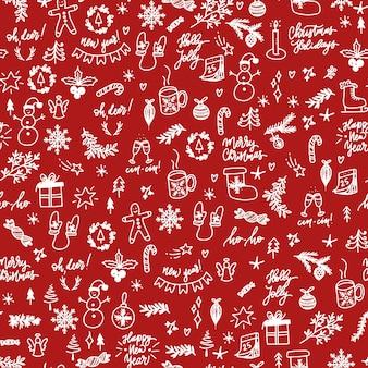 Modèle sans couture avec des éléments de noël blancs dessinés à la main sur fond rouge