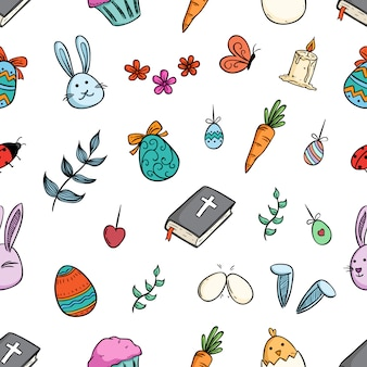Modèle sans couture d'éléments de pâques ou de personnage avec art de doodle