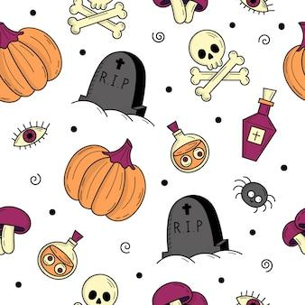 Modèle sans couture avec des éléments pour halloween. objets effrayants mystiques. chats, citrouilles, fantômes, potion. illustration de style griffonnage