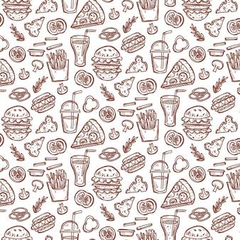 Modèle sans couture avec des éléments de restauration rapide doodle.