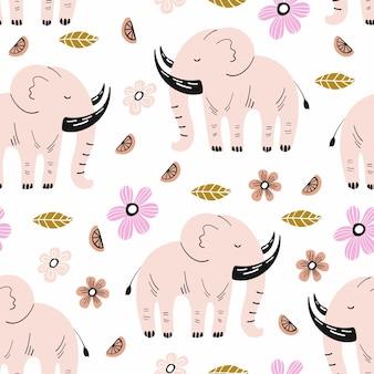 Modèle sans couture avec éléphant et éléments dessinés à la main