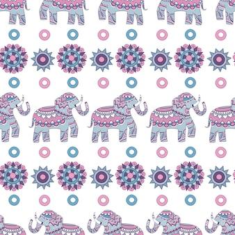 Modèle sans couture d'éléphant indien. illustrations décorées d'animaux fond de vecteur indien
