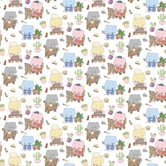 Modèle sans couture d'éléphant mignon