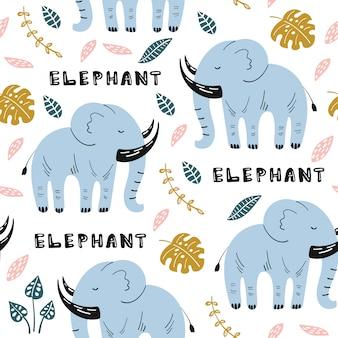 Modèle sans couture avec éléphant mignon