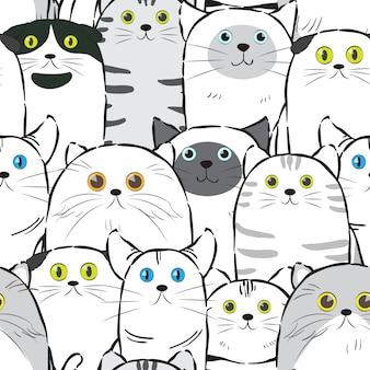 Modèle sans couture d'encre de ligne chat