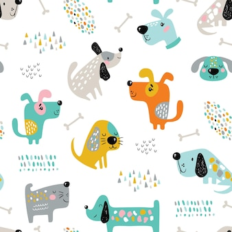 Modèle sans couture enfantin avec des chiens drôles.