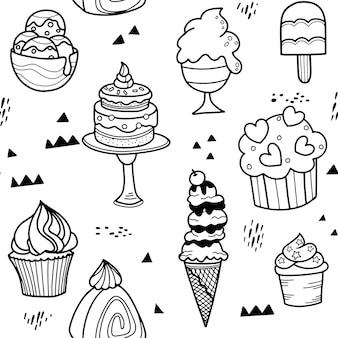 Modèle sans couture enfantin avec dessert dessiné à la main dans un style scandinave