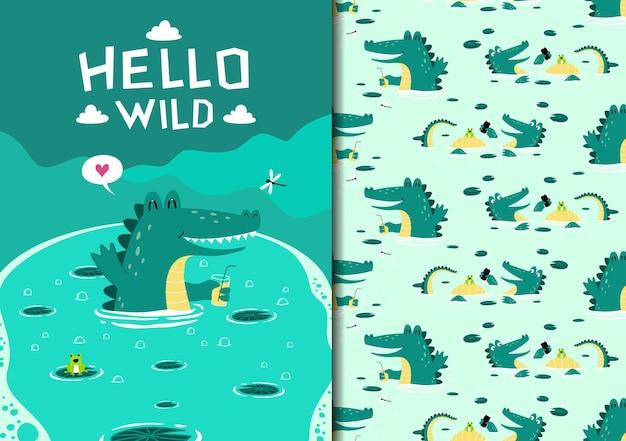 Modèle sans couture enfantin dessiné à la main avec crocodile nageant dans le lac portant un verre