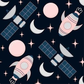 Modèle sans couture enfantin avec espace éléments espace, fusée, étoile, planète