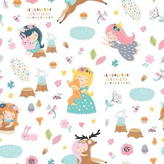 Modèle sans couture enfantin avec des fées de la forêt et des bébés animaux.