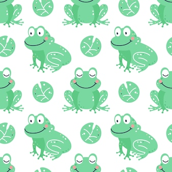 Modèle sans couture enfantin avec des grenouilles
