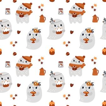 Modèle sans couture enfantin avec impression festive d'automne de fantômes mignons pour textile avec fantôme de dessin animé