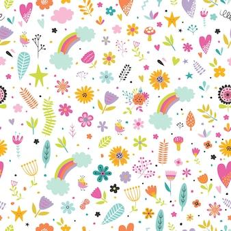 Modèle sans couture enfantin avec jolies fleurs, coeurs et arcs-en-ciel en style cartoon.