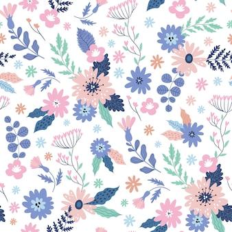 Modèle sans couture enfantin avec de jolies fleurs et feuilles en style cartoon.