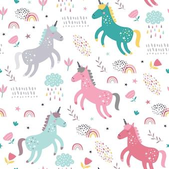Modèle sans couture enfantin avec des licornes