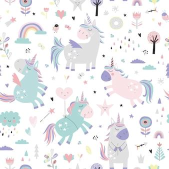 Modèle sans couture enfantin avec des licornes.