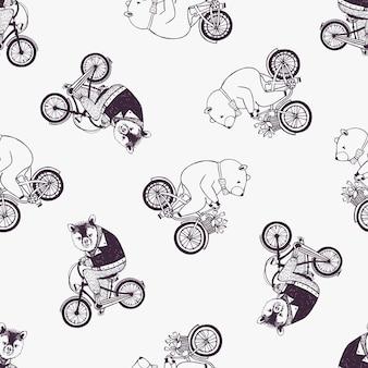 Modèle sans couture enfantin avec des ours de dessin animé mignon portant chemise et noeud papillon, faire du vélo sur blanc