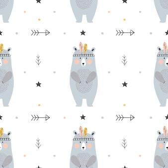 Modèle sans couture enfantin avec des ours dessinés à la main dans un style scandinave.