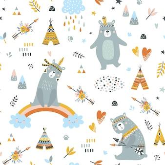Modèle sans couture enfantin avec des ours mignons en style cartoon.