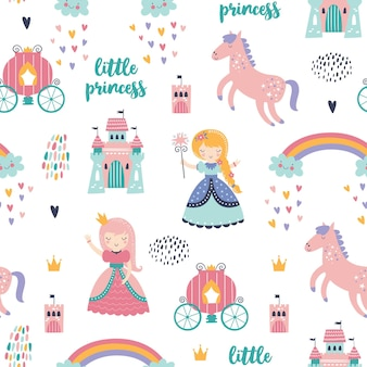 Modèle sans couture enfantin avec princesse, château, calèche dans un style scandinave.