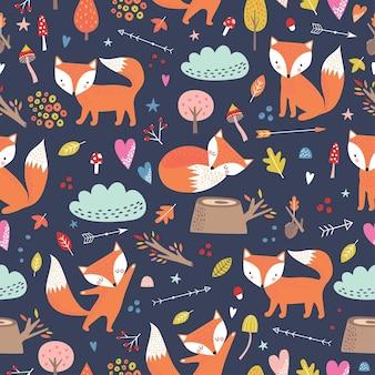 Modèle sans couture enfantin avec des renards mignons en style cartoon.