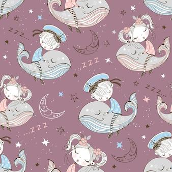 Modèle sans couture avec enfants mignons dormant sur les baleines