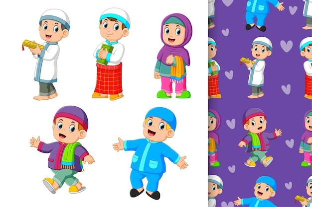 Le modèle sans couture des enfants musulmans avec leur tenue colorée d'illustration
