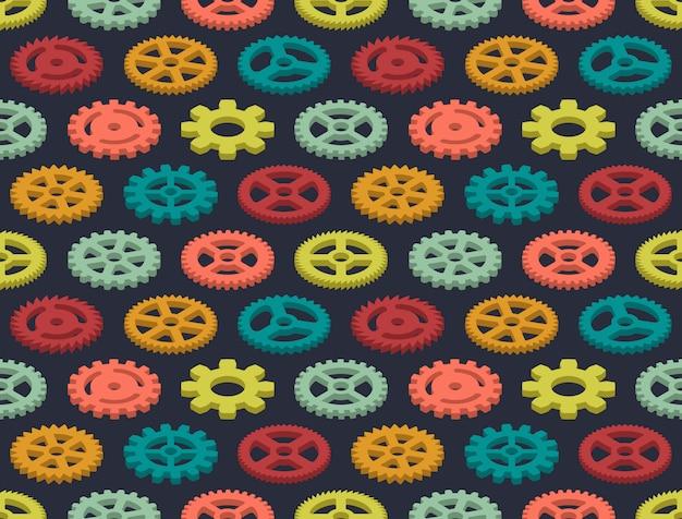 Modèle sans couture d'engrenages colorés isométrique