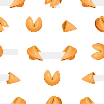 Modèle sans couture d'ensemble de dessin animé de vecteur de nourriture plate de biscuits de fortune chinois sur fond de couleurs. biscuits de fortune avec modèle de papier vierge. biscuits de fortune chinois ouverts et fermés avec du papier.