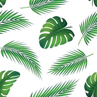 Modèle sans couture, ensemble de feuilles de palmier et de plantes exotiques. graphiques de la jungle verte et des tropiques. symbolise les voyages par beau temps en été.