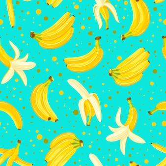 Modèle sans couture avec un ensemble d'illustration de bananes