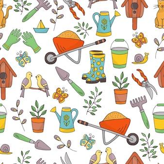 Modèle sans couture avec un ensemble d & # 39; outils de jardin