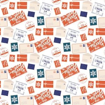 Modèle sans couture d'enveloppe de ristmas. enveloppe de courrier, autocollants, timbres et carte postale
