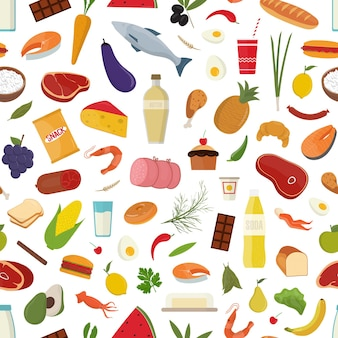 Modèle sans couture avec épicerie sur fond blanc - fruits, légumes, lait ou produits laitiers, poisson, viande.