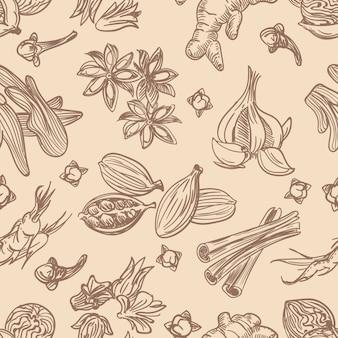 Modèle sans couture d'épices dessinés à la main